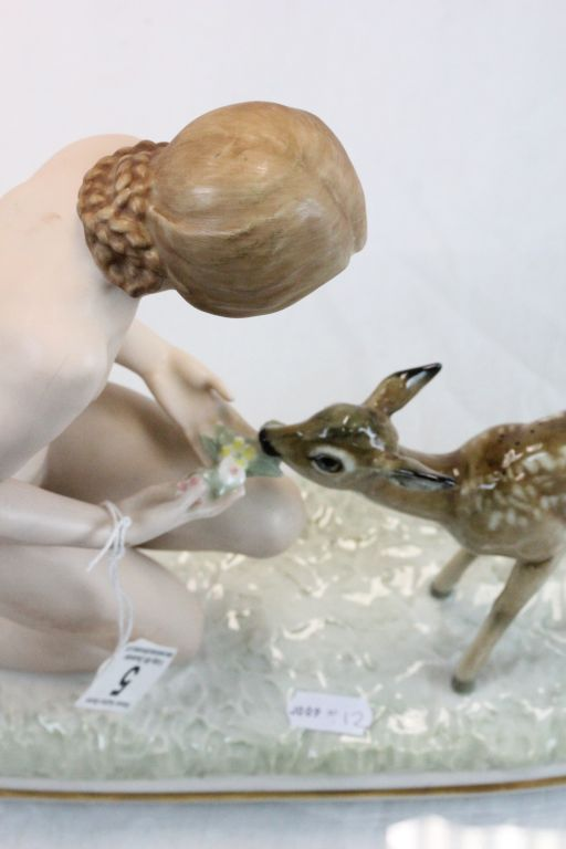 Lot 5 - Hutschenreuther Porcelain Figure of Nude Girl with Deer