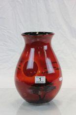 Lot 1 - Large Poole vase with sunset design, signed to base SW .Ax