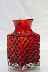 Lot 26 - Whitefriars red glass Chessboard vase