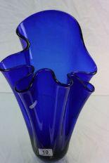 Lot 10 - Blue glass Art vase with handkerchief style design