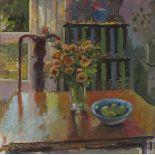 Pat ALGAR (1939-2013), Oil on board, 'Autumn Interior - Chrysanthemums', Inscribed & Studio Stamp to