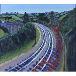 †Tony GILES (1925-1994), Oil on board, 'Chacewater Railway' and viaduct Cornwall, Inscribed, signed