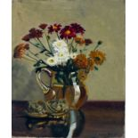 †Daphne JAMESON (b.1942), Oil on canvas, Still life - Summer flowers in a glass jug, Signed,