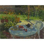 Pat ALGAR (1939-2013), Oil on board, 'Garden Table' - still life with Teapot, Teacup & Saucer, Fruit