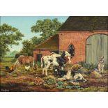†Brian TOVEY (b.1943), Oil on canvas, Balsall Common, Warwickshire - Farmyard scene with calves,