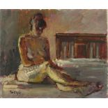 Pat ALGAR (1939-2013), Oil on board, 'Seated Nude on Bed', Inscribed & with Studio Stamp to verso,