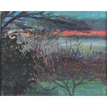Pat ALGAR (1939-2013), Oil on board, 'Winter Sunset', Inscribed & Studio Stamp to verso, Signed, 7.