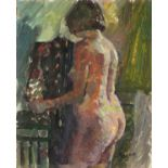 """Pat ALGAR (1939-2013), Oil on board, Standing Nude, Studio Stamp to verso, Signed, Unframed, 10"""" x"""