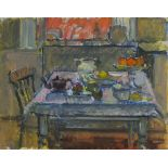 Pat ALGAR (1939-2013), Oil on board, Still life - Kitchen table at Chymorvah, Studio Stamp to verso,