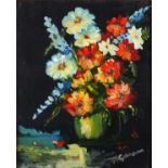"""M* GANNON (20th Century), Oil on canvas, Still life - Summer flowers in a vase, Signed, 9.5"""" x 7.75"""""""