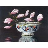 †Daphne JAMESON (b.1942), Oil on canvas, Still life - Magnolia buds in an ironstone bowl, Signed,