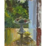 Pat ALGAR (1939-2013), Oil on board, Still Life - Comport with fruit by a window, Inscribed & signed