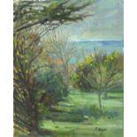 Pat ALGAR (1939-2013), Oil on board, Garden Trees, Spring, Studio Stamp to verso, Signed,