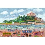 †Simeon STAFFORD (b.1956), Oil on board, 'St Michael's Mount' - figures on the beach, Inscribed,