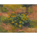 Troels TRIER (1879-1962), (Danish School), Oil on canvas, Winter Aconites Flowering on a woodland