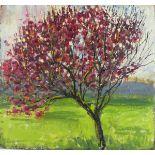 Pat ALGAR (1939-2013), Oil on board, Cherry Tree in full blossom, Studio Stamp to verso, Unsigned,