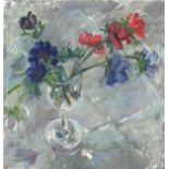 Pat ALGAR (1939-2013), Oil on board, Still Life - Anemones in a Wine Glass, Studio Stamp to verso,