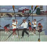 †Alfred DANIELS (1924-2015), Acrylic on board, 'Church, Bridge, Oarsmen' - Rowers by the River,