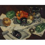 †Richard PIERCE (20th Century British School), Oil on board, Still life - Peppers & vegetables with