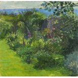 Pat ALGAR (1939-2013), Oil on board, Foxgloves at Chymorvah - Garden landscape, Studio Stamp to