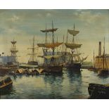 †E* G* BURROWS, (20th Century English School), Oil on canvas, Busy Harbour Scene, Portsmouth, Signed