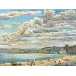 T* SPIKINS, (20th Century), Oil on board, 'St Austell Bay from Crinnis Beach' - figures on the