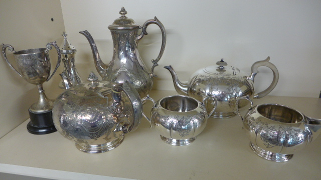 Lot 667 - A small selection of plated ware including a three piece teaset