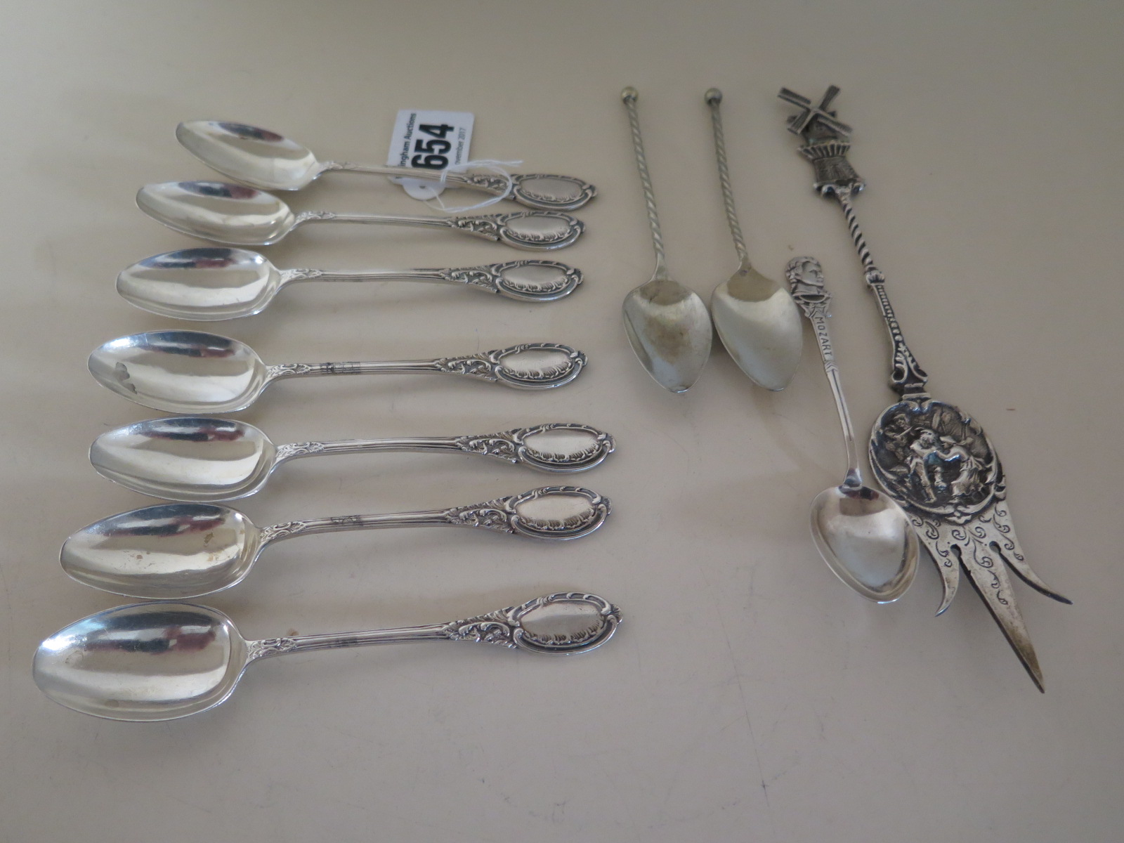 Lot 654 - Eleven Silver Spoons, seven bearing Hallmark for Sheffield 1913-14, approx 4.