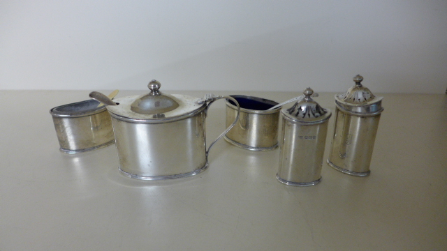 Lot 659 - Five Silver Cruet pieces, four by maker H. A.