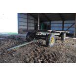 14' Flat rack wagon, wood floor, John Deere gear