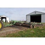 2002 25' John Deere 726 mulch finisher, hyd front disk gang, knock on shovels, 3 bar harrow, rolling