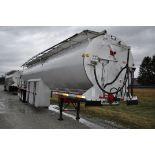 1995 40' Warren 9-bin aluminum bulk-feed trailer, 29' auger, spring ride, collapsible upper hand