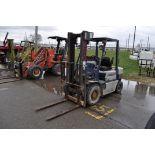 Komatsu FG 25C11 Forklift, Pneumatic Tires, Gasoline, 2 speed, 5000 lbs. lift, shows 743 hrs.