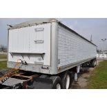 1987 40' Wilson Model DWH-100 grain ag hopper trailer w/ 2 center dumps, tarp