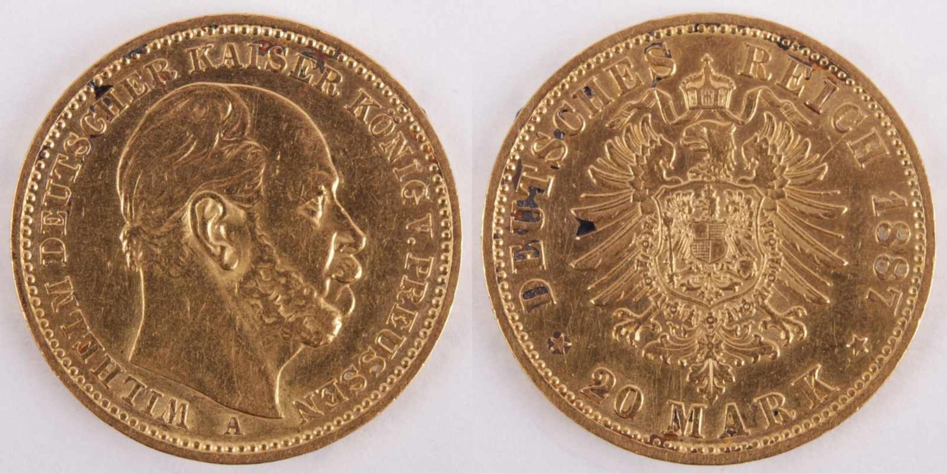 Gold coin: 20 Mark 1887 Prussia, 20 Mark, William I, German Emperor, year 1887, gold coin, 900/