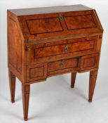 Classicist bureau Bohemia, 3rd third of the 18th century, bureau on the four squared legs, reclining