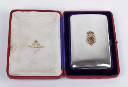 King´s Edward VIII silver cigar case Cigar case, silver 925/1000 and gold 585/1000, London, year