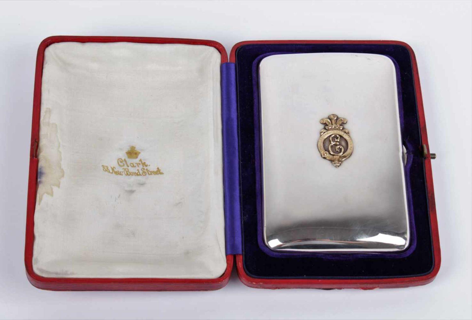 Los 53 - King´s Edward VIII silver cigar case Cigar case, silver 925/1000 and gold 585/1000, London, year