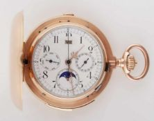 Gold chronograph with date and lunar indicator and gong Early 20th century, the massive pocket watch