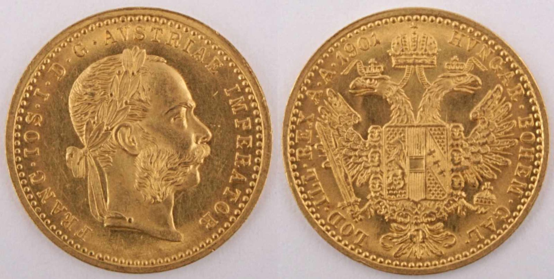 Gold coin: Ducat FJI 1901 Austria-Hungary, Ducat Franz Joseph I., year 1901, gold coin, 986/1000