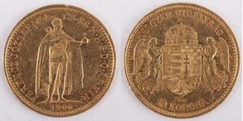 Gold coin: 10 Crown 1900 Austria-HUngary, 10 Crown, year 1900 KB, gold coin, 900/1000 fineness,