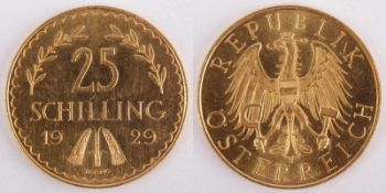 Gold coin: 25 Schilling 1929 Austria, 25 Schilling, year 1929, gold coin, 900/1000 fineness,