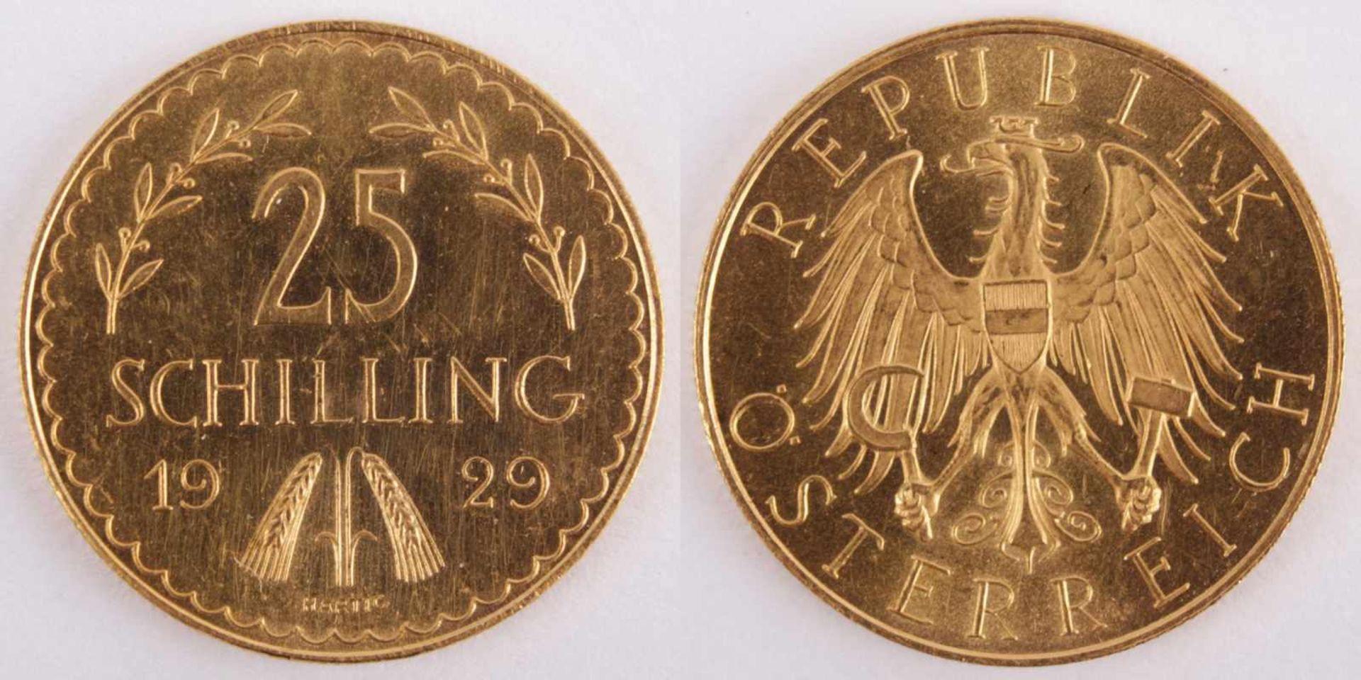 Gold coin: 25 Schilling 1929 Austria, 25 Schilling, year 1929, gold coin, 900/1000 fineness,