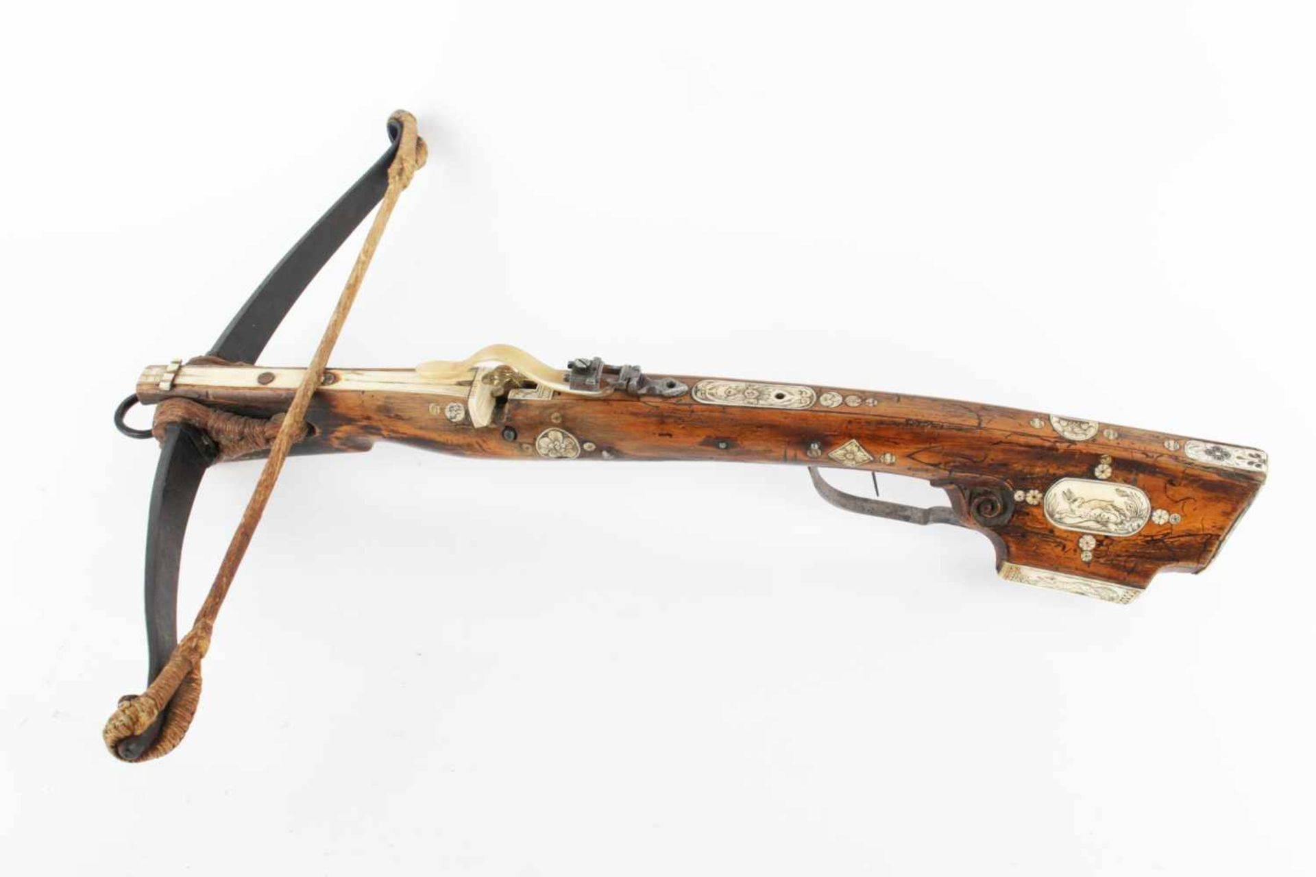 A German Hunting Crossbow Probably Germany, the end of the 17th century, steel, iron, wood, hemp