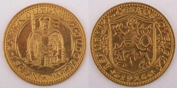 Gold coin: Saint Wenceslaus Ducat 1926 Czechoslovakia, Saint Wenceslaus Ducat, year 1926, gold coin,