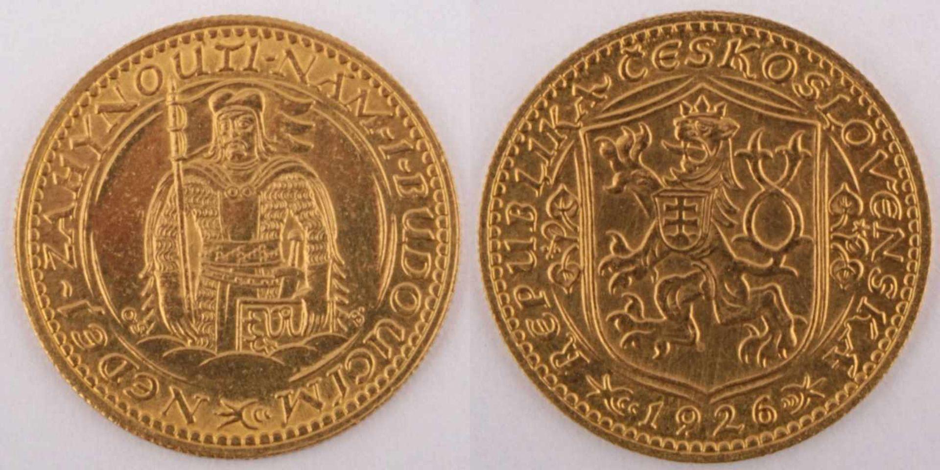 Los 9 - Gold coin: Saint Wenceslaus Ducat 1926 Czechoslovakia, Saint Wenceslaus Ducat, year 1926, gold coin,