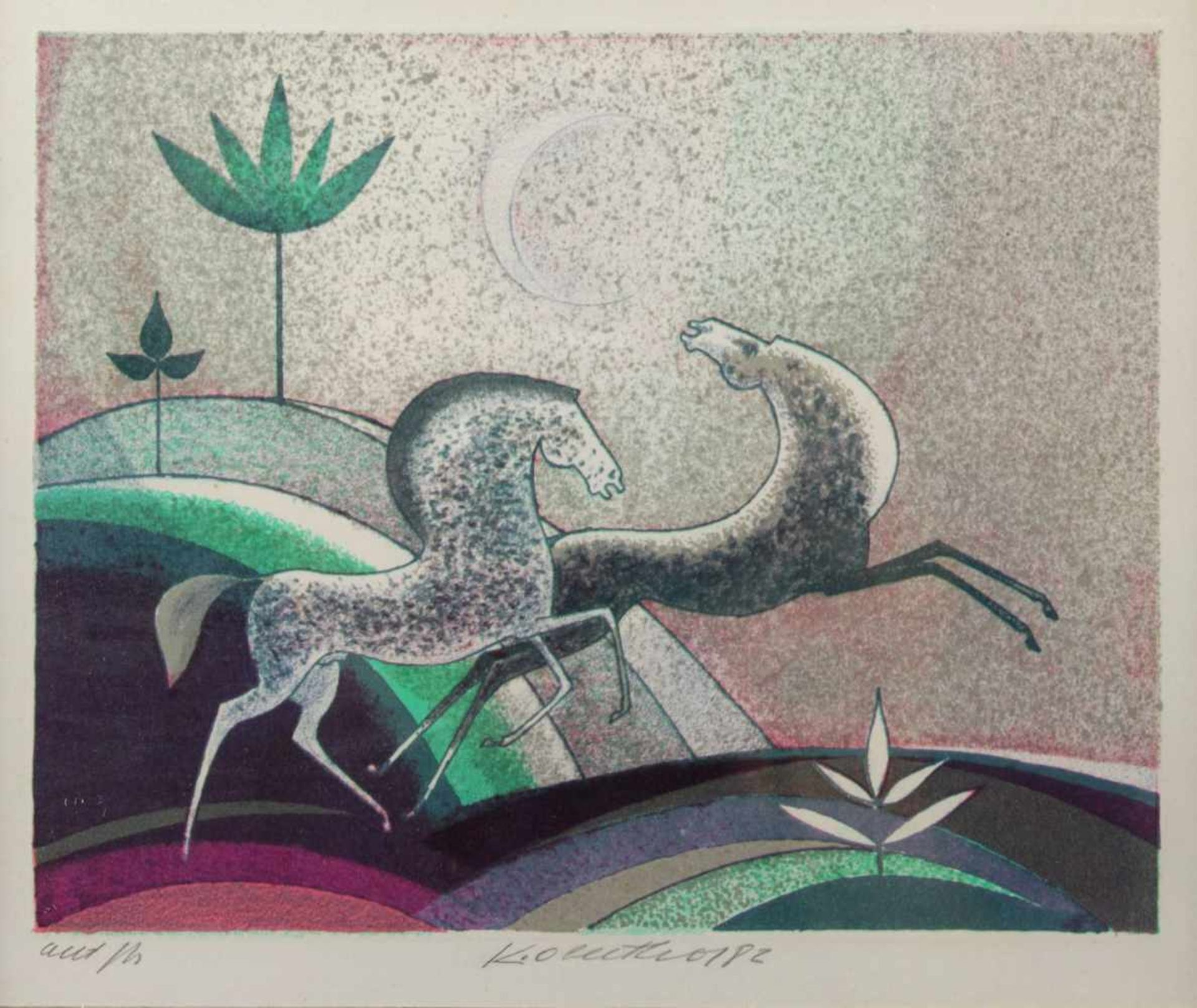 Oberthor Karel (1921 - 1996) Evening,1982, color lithograph on paper, artist, the dimensions 13.5
