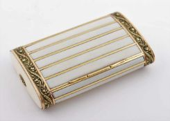 Gold ivory decorated cigarette case Gold cigarette case decorated with flowers relief and ivory,