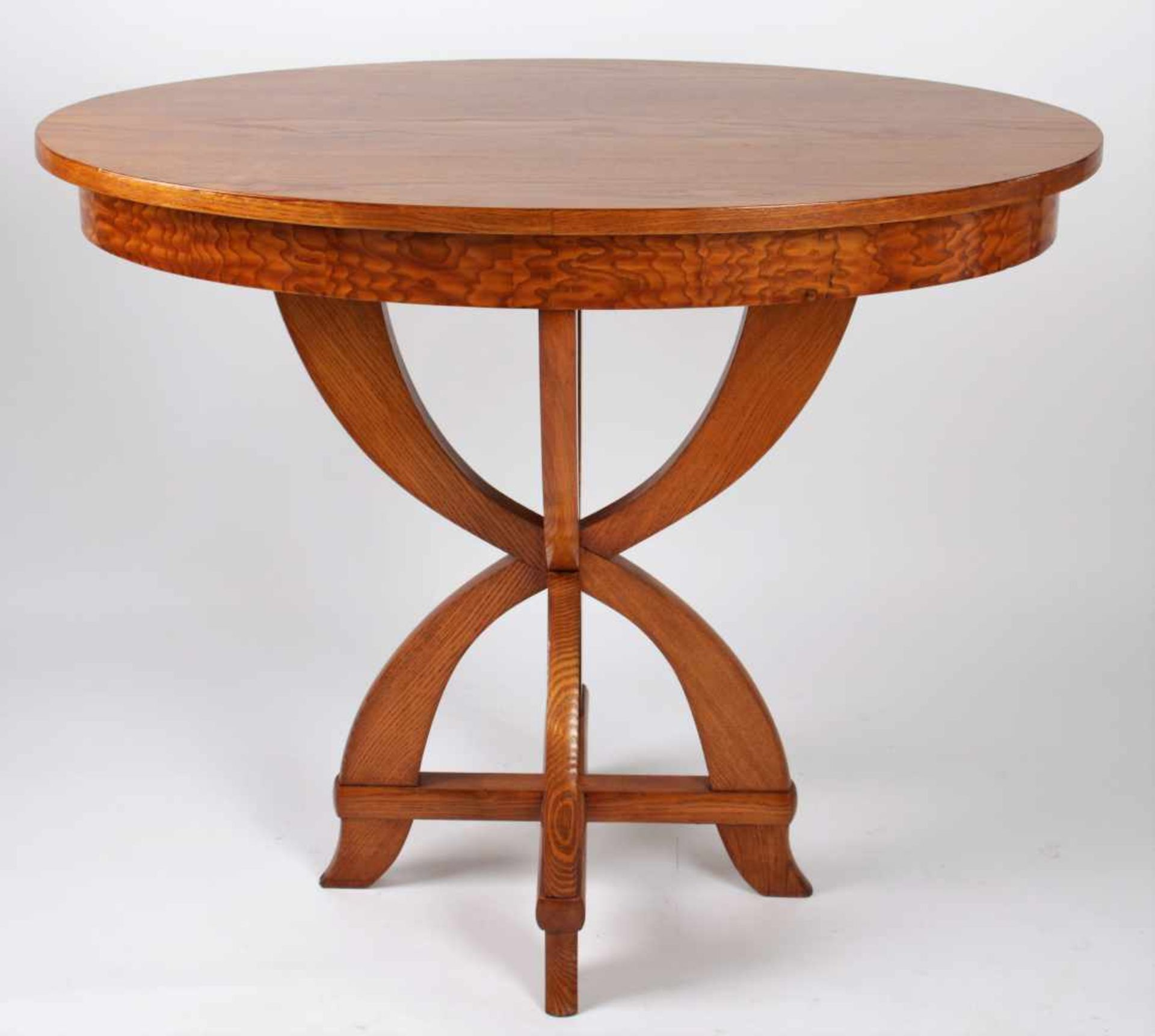Art Deco oval table Czechoslovakia, 2nd quarter of the 20th century, table with an oval surface,