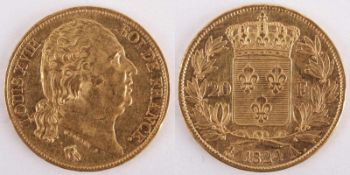 Gold coin: 20 Franc 1824 France, 20 Franc, Louis XVIII, MICHAUT F, year 1824, gold coin, 900/1000